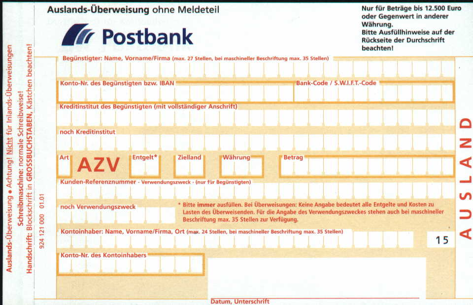 Postbank Bareinzahlung